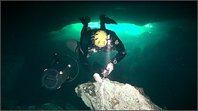 Side Mount DPV Cave Diver
